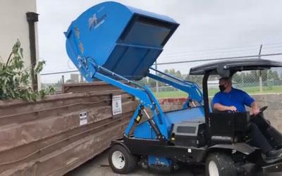 High Lift Dump Feature On The Harper Hawk Turf Sweeper | Harper Turf Equipment